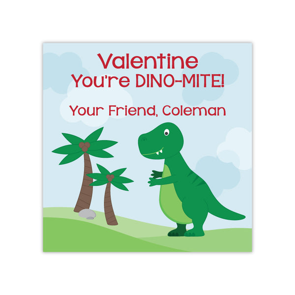 Dinosaur Personalized Valentine's Day Gift Labels