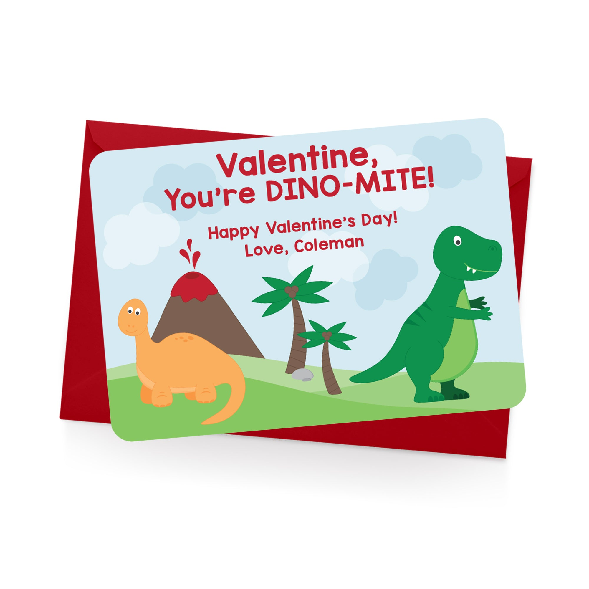 Dinosaur Personalized Valentine's Day Cards