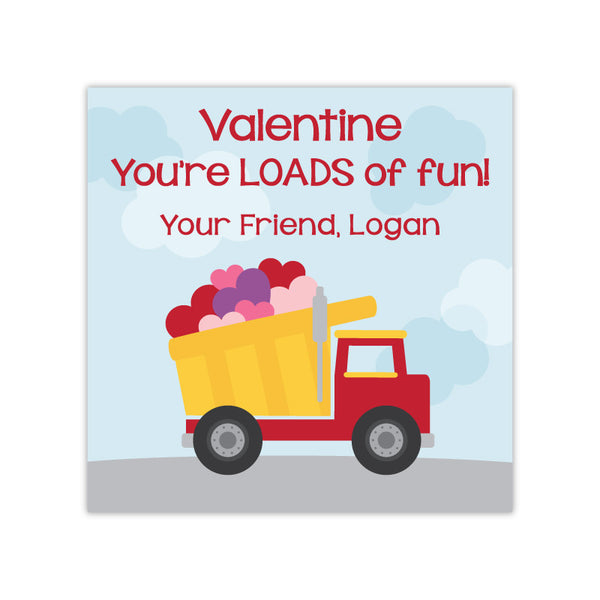 Dump Truck Personalized Valentine's Day Gift Labels