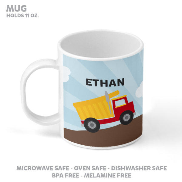 Dump Truck Personalized Mealtime Set