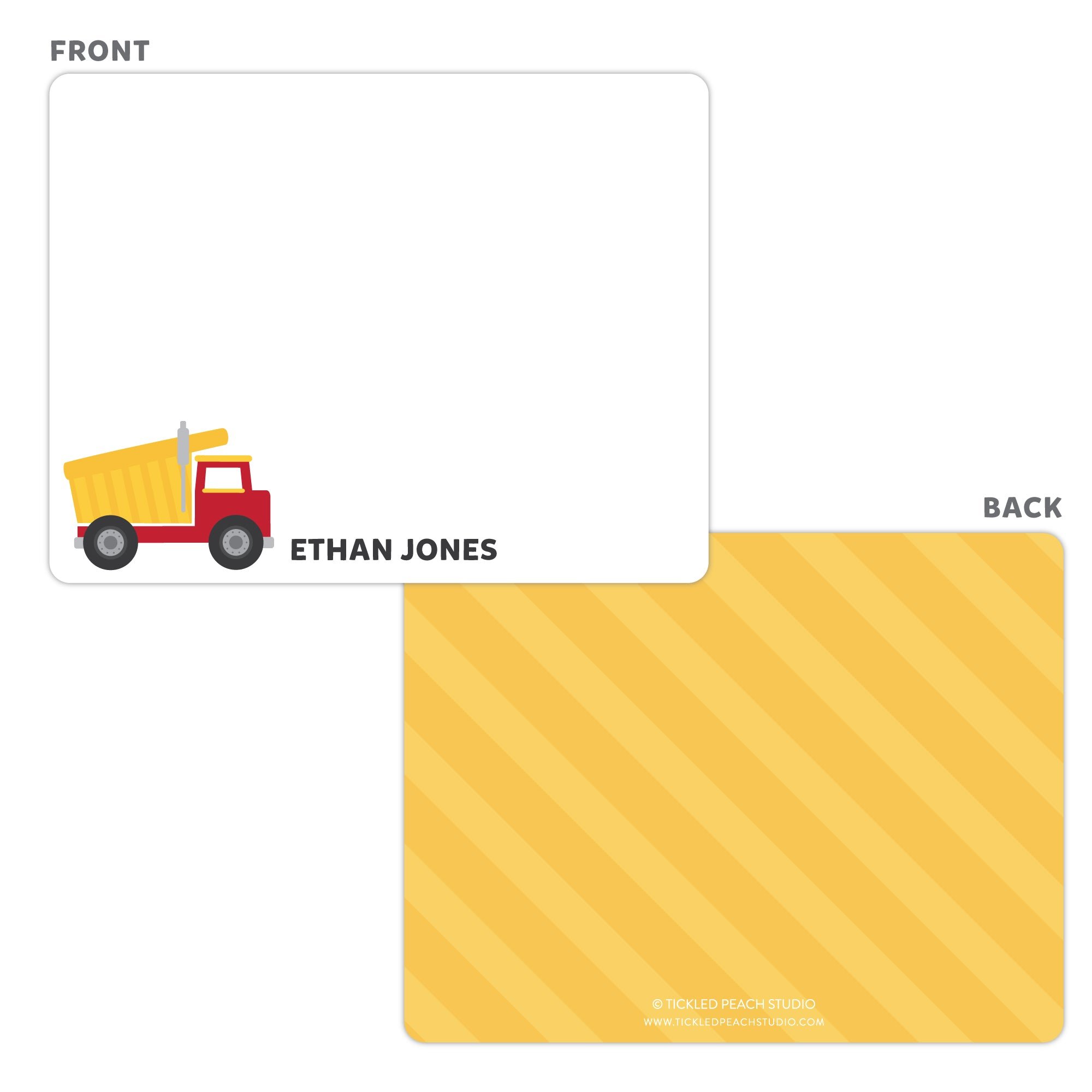 Dump Truck Note Cards - Thank You Cards