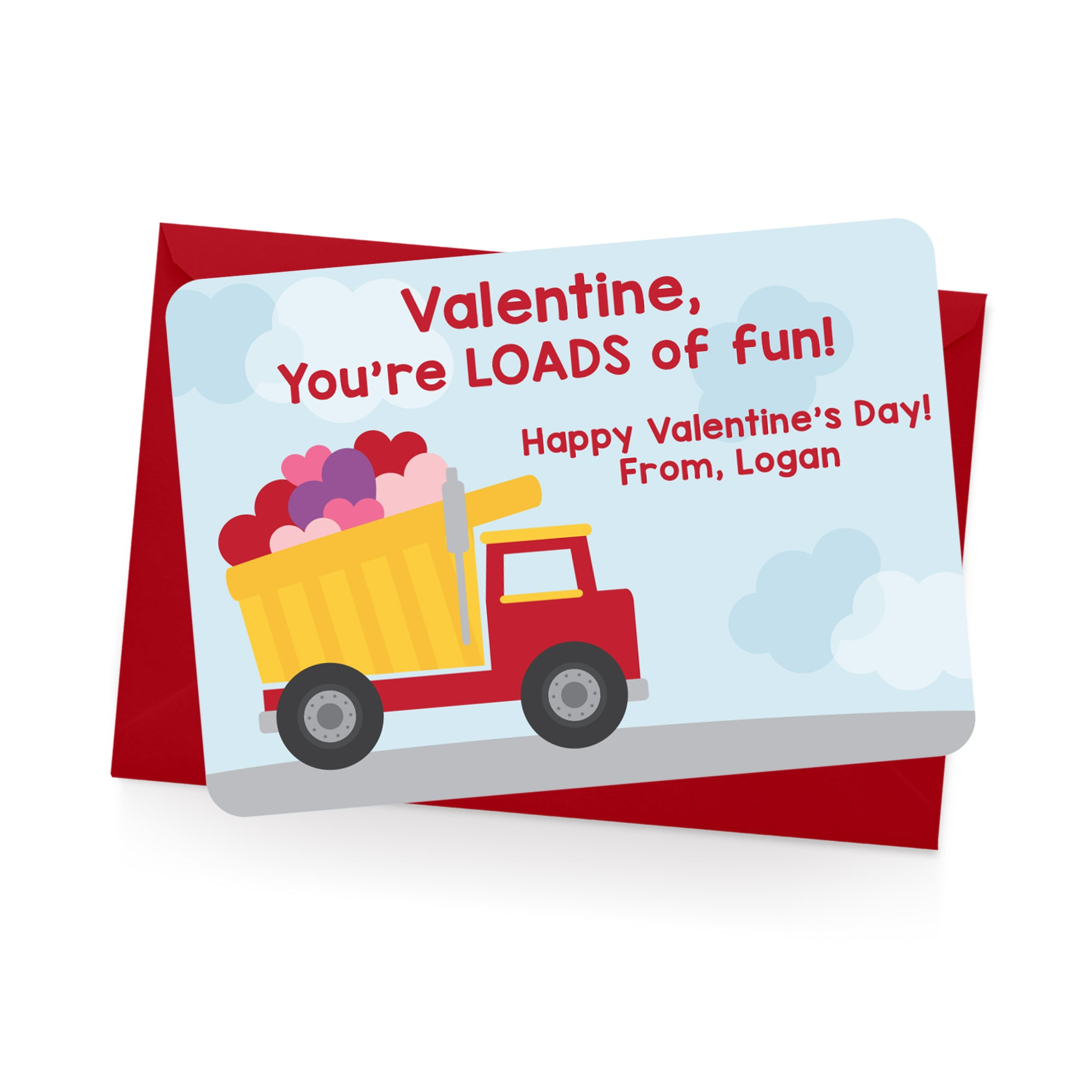 Dump Truck Personalized Valentine's Day Cards