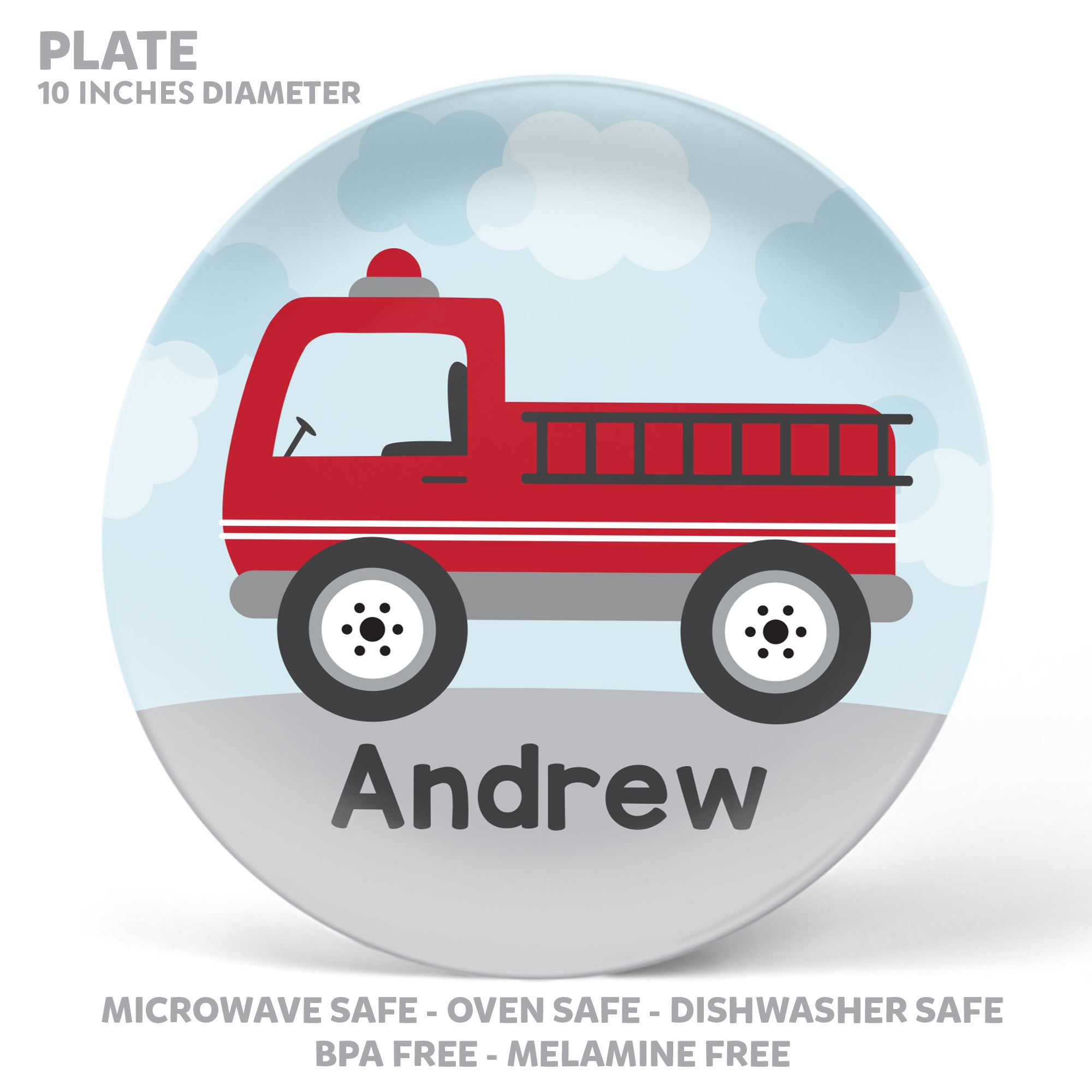 Fire Truck Personalized Mealtime Set