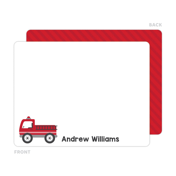 Firetruck Note Cards - Thank You Cards