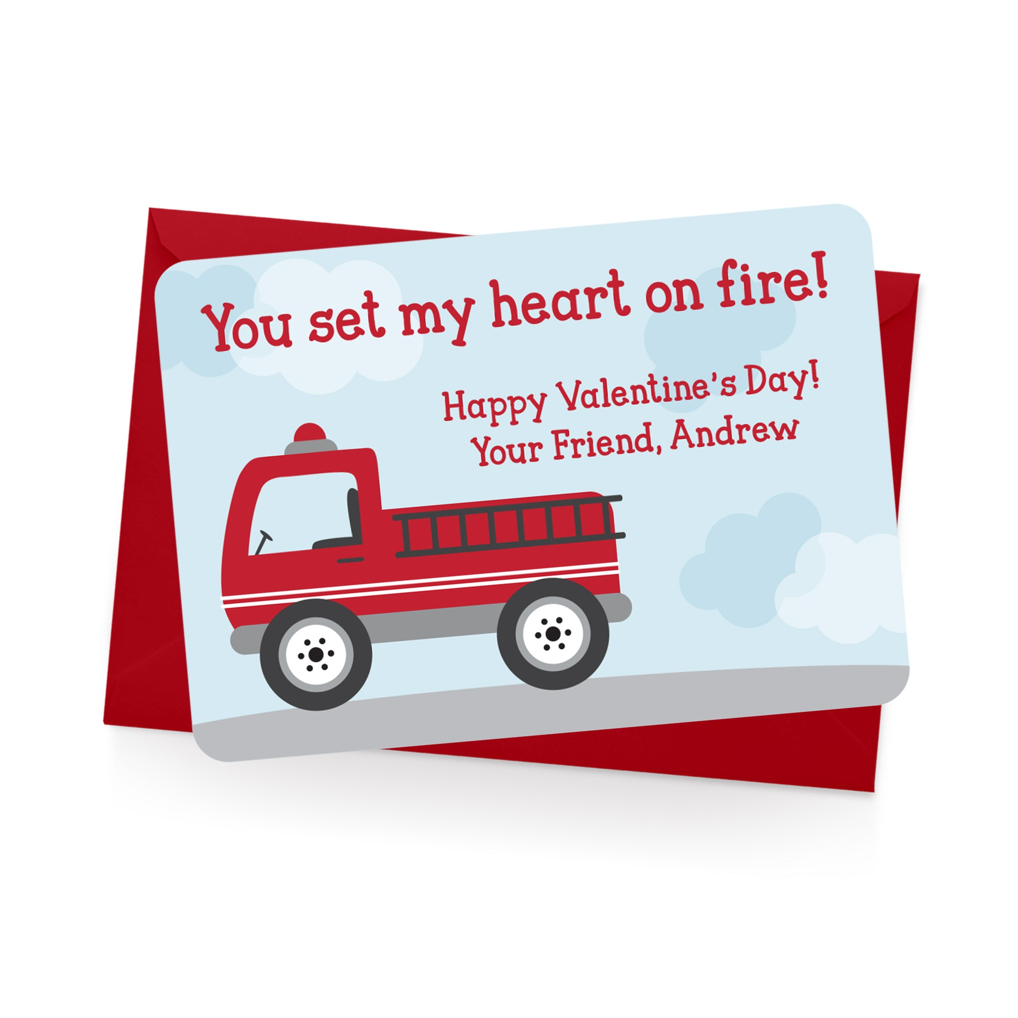 Fire Truck Personalized Valentine's Day Cards