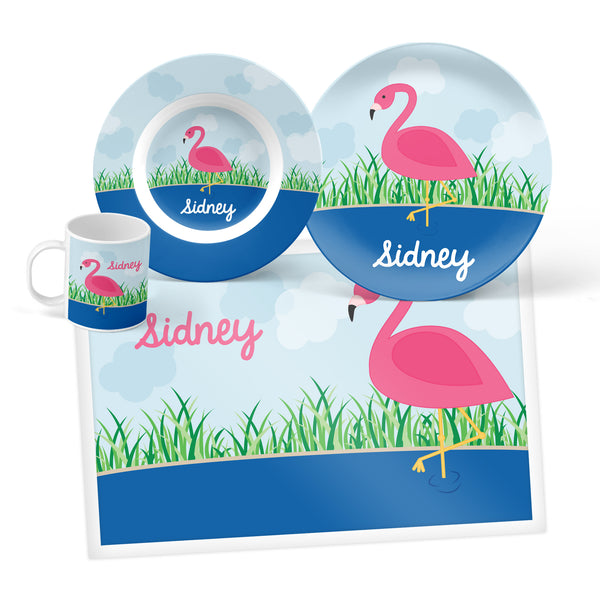 Flamingo Personalized Mealtime Set
