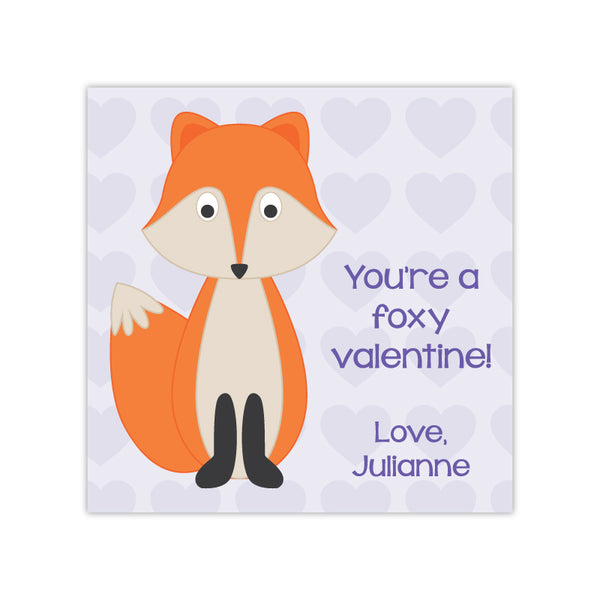 Fox Personalized Valentine's Day Gift Labels
