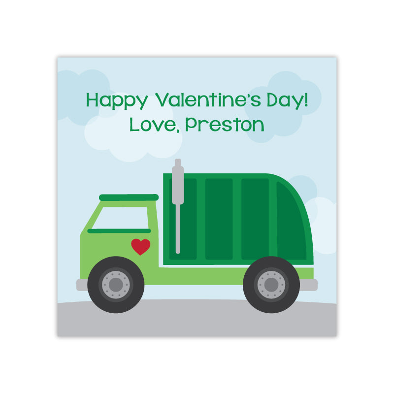 Garbage Truck Personalized Valentine's Day Gift Labels
