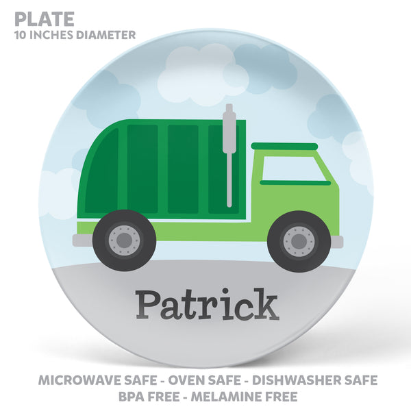 Garbage Truck Personalized Mealtime Set