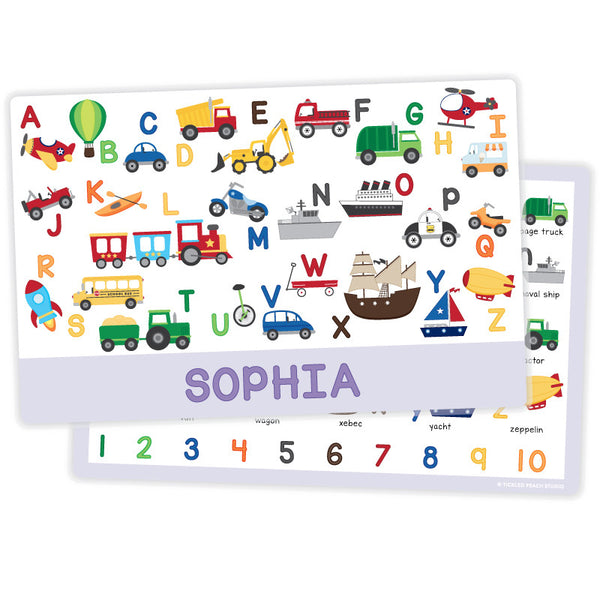 Personalized Kids Placemat - Transportation Alphabet Girl