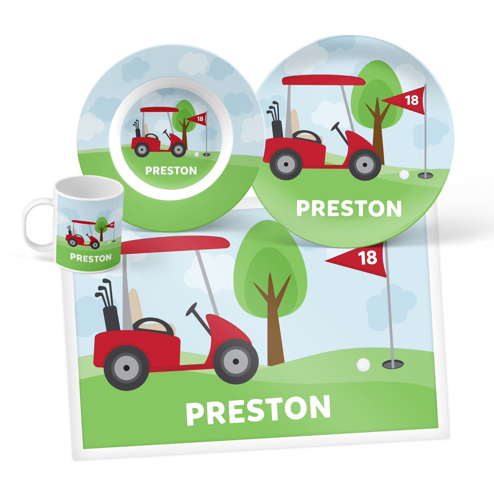 Golf Cart Personalized Mealtime Set