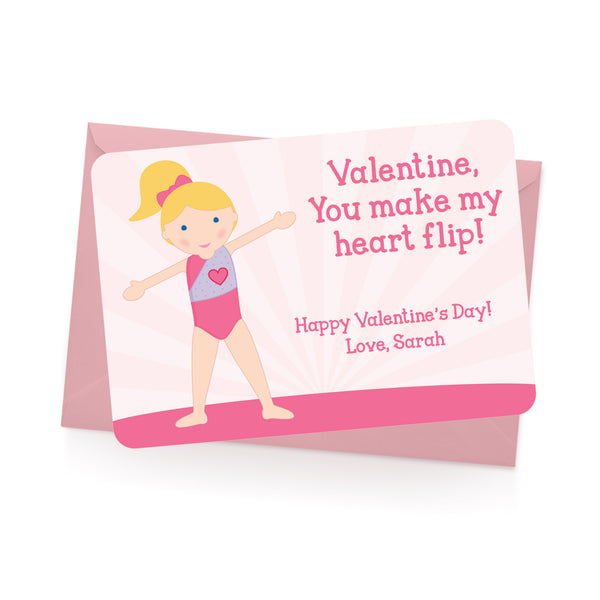 Gymnast Personalized Valentine's Day Cards