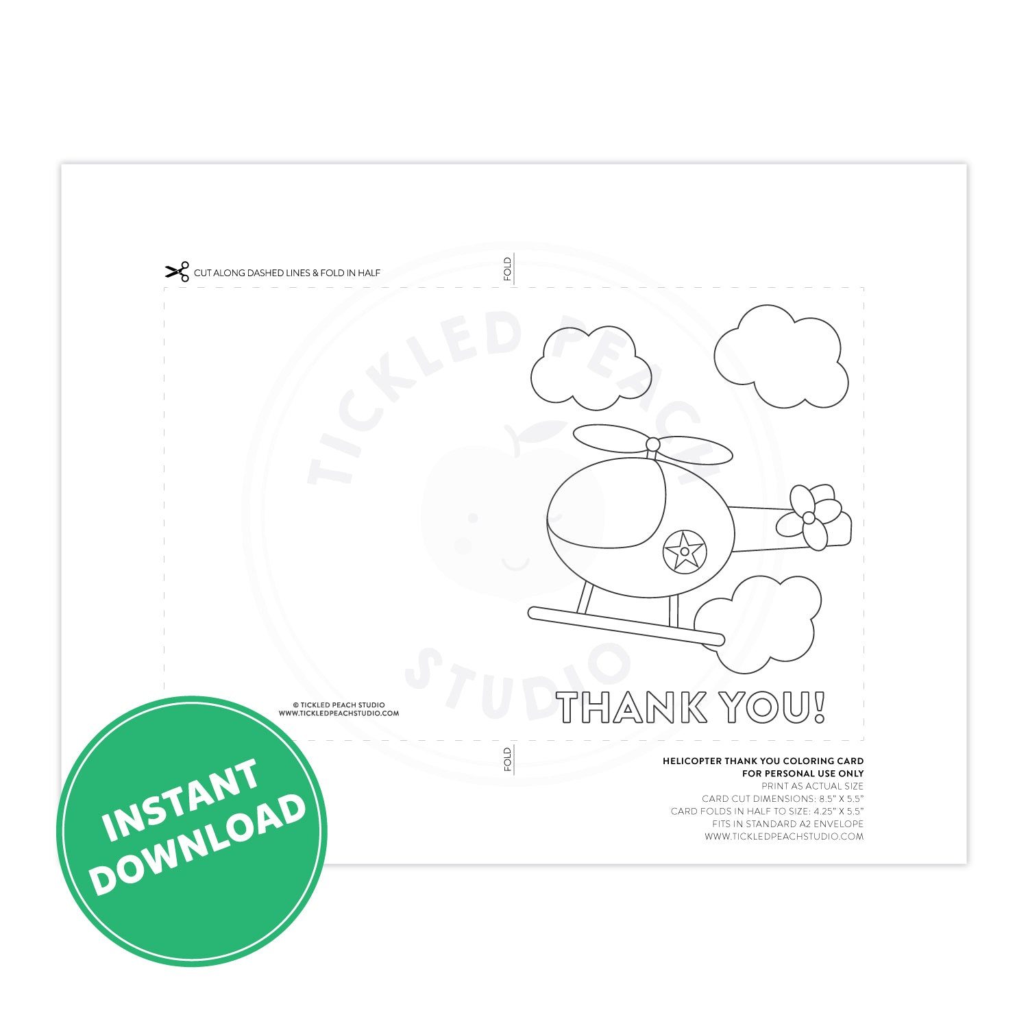 PRINTABLE Helicopter Thank You Coloring Card