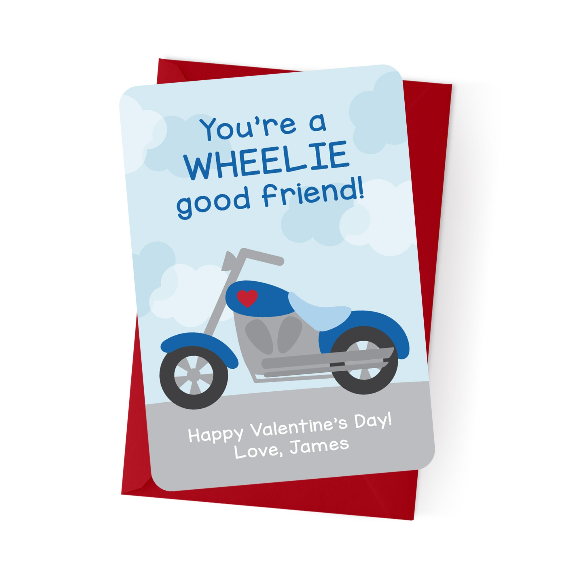 Motorcycle Personalized Valentine's Day Cards