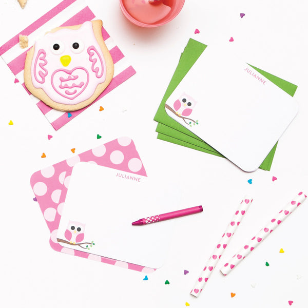 Personalized Flat Note Cards - Owl