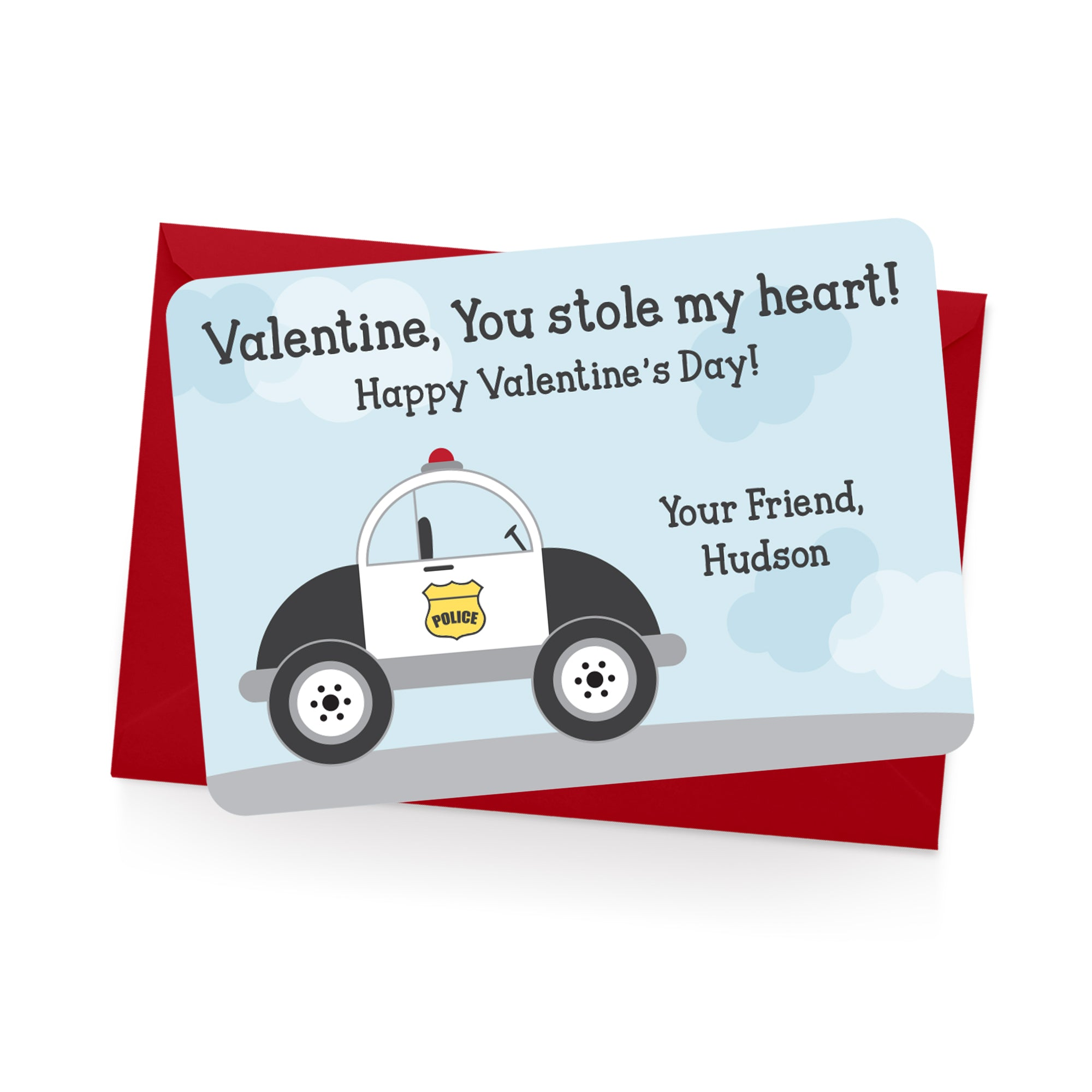 Police Car Personalized Valentine's Day Cards
