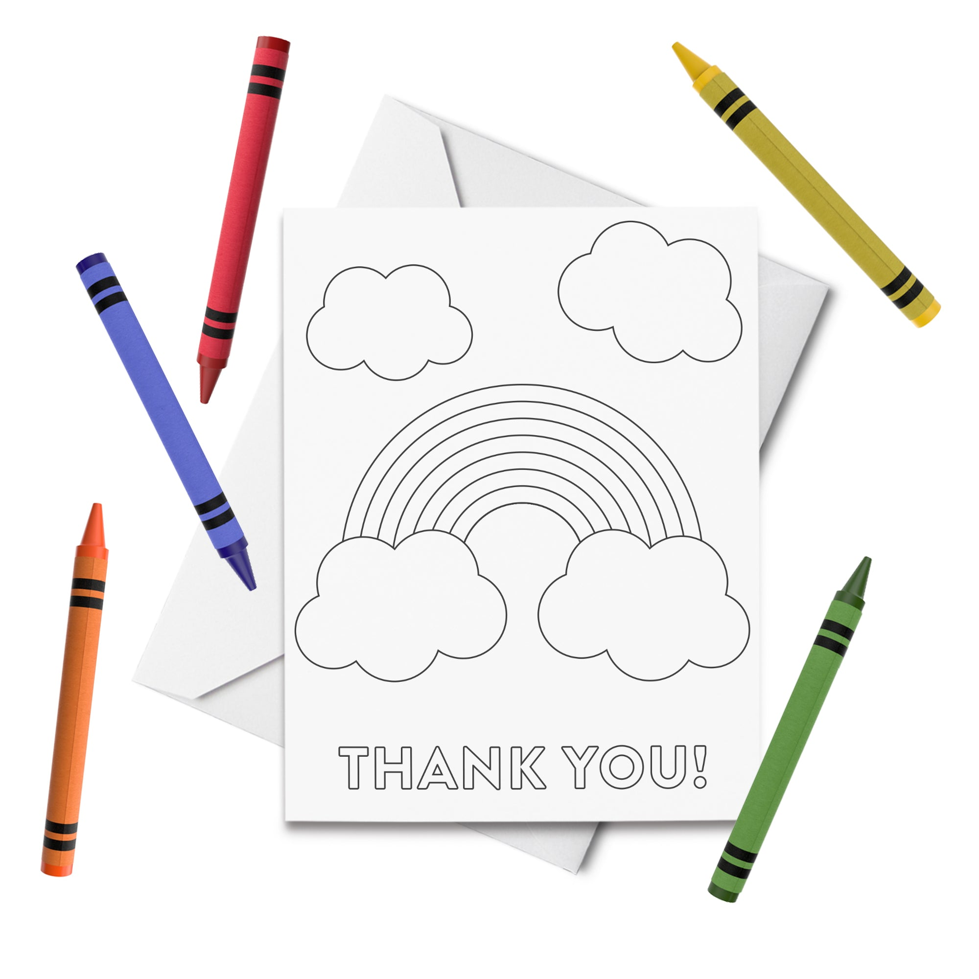 PRINTABLE Rainbow Thank You Coloring Card
