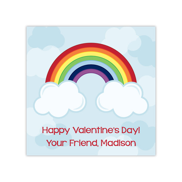 Rainbow Personalized Valentine's Day Gift Labels