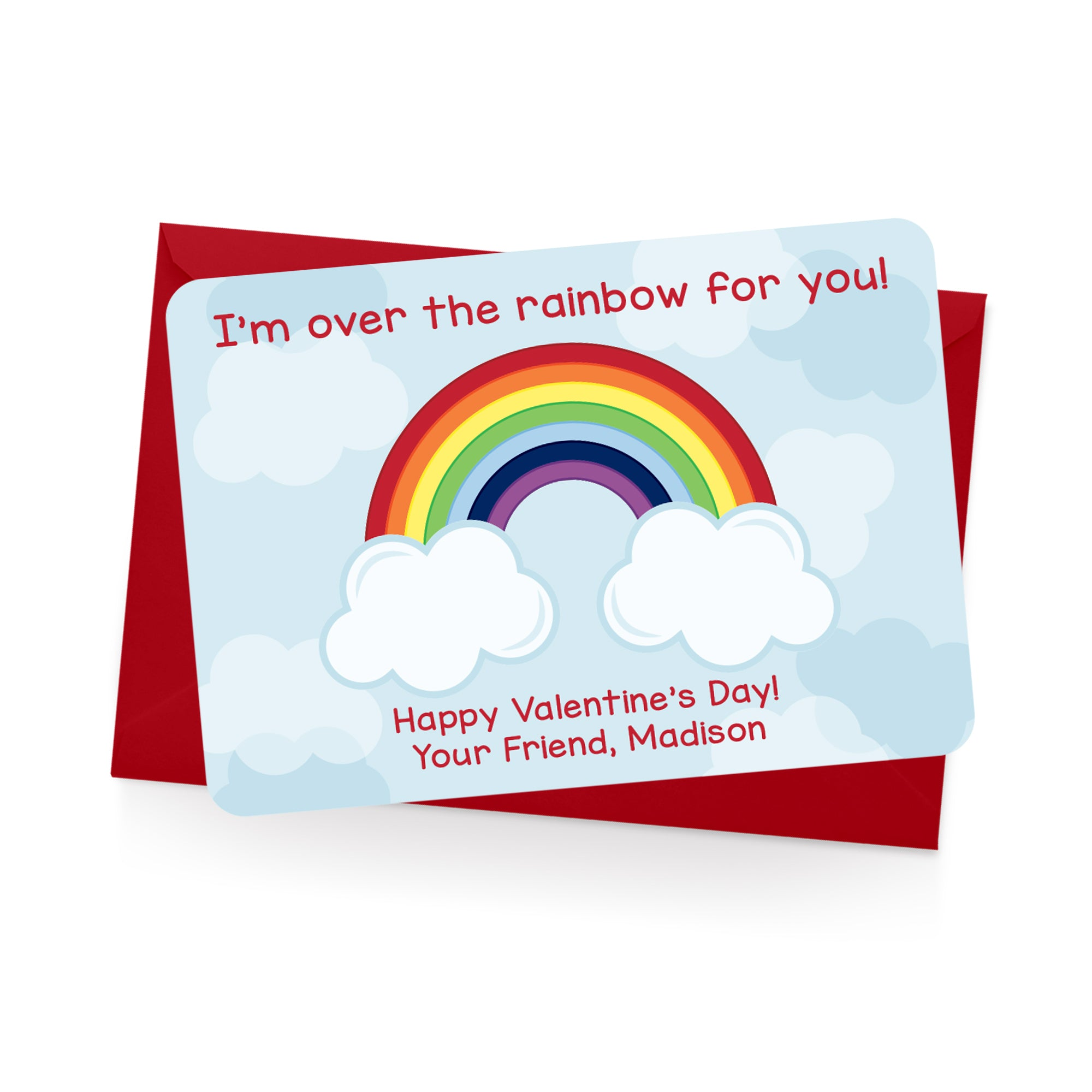 Rainbow Personalized Valentine's Day Cards