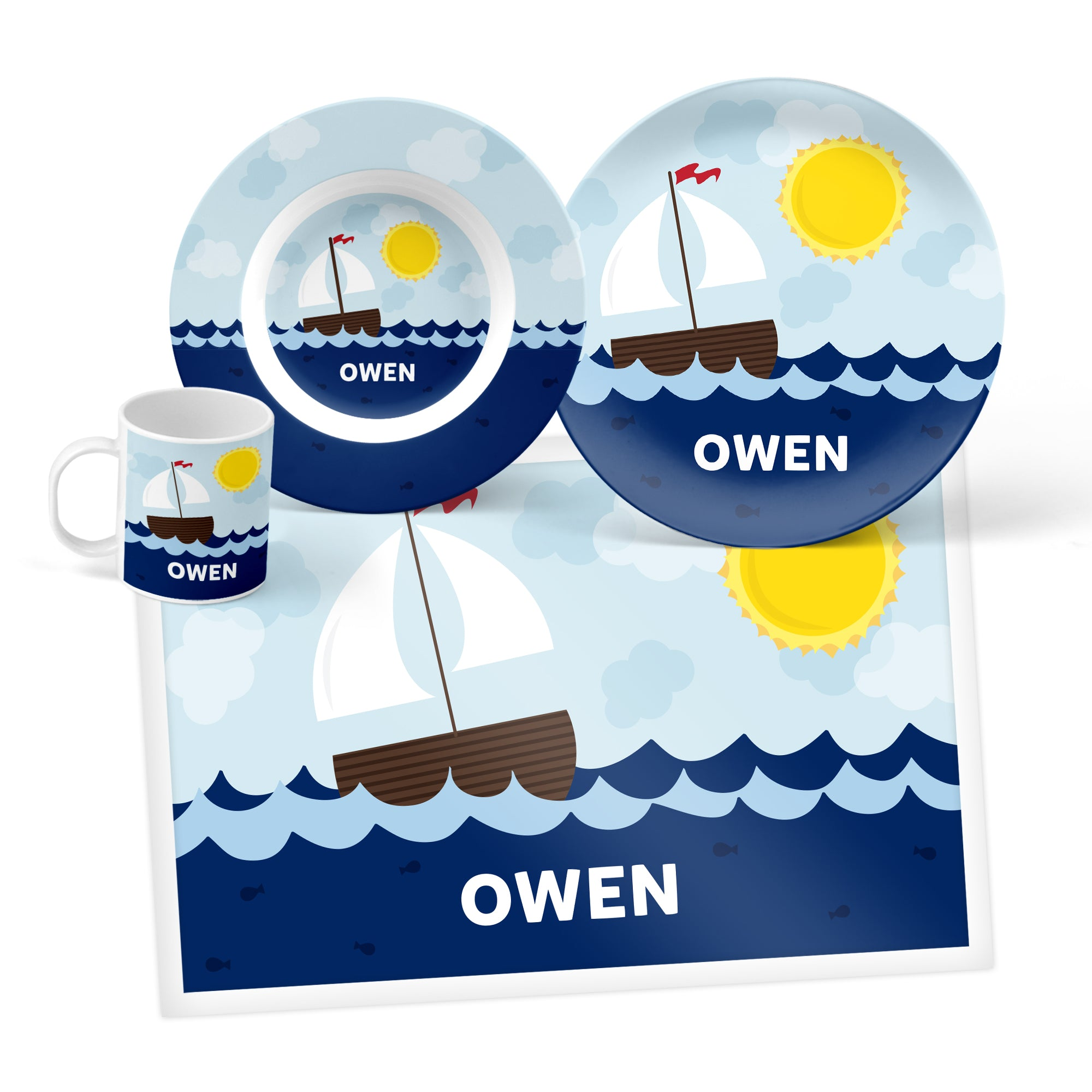 Sailboat Personalized Mealtime Set