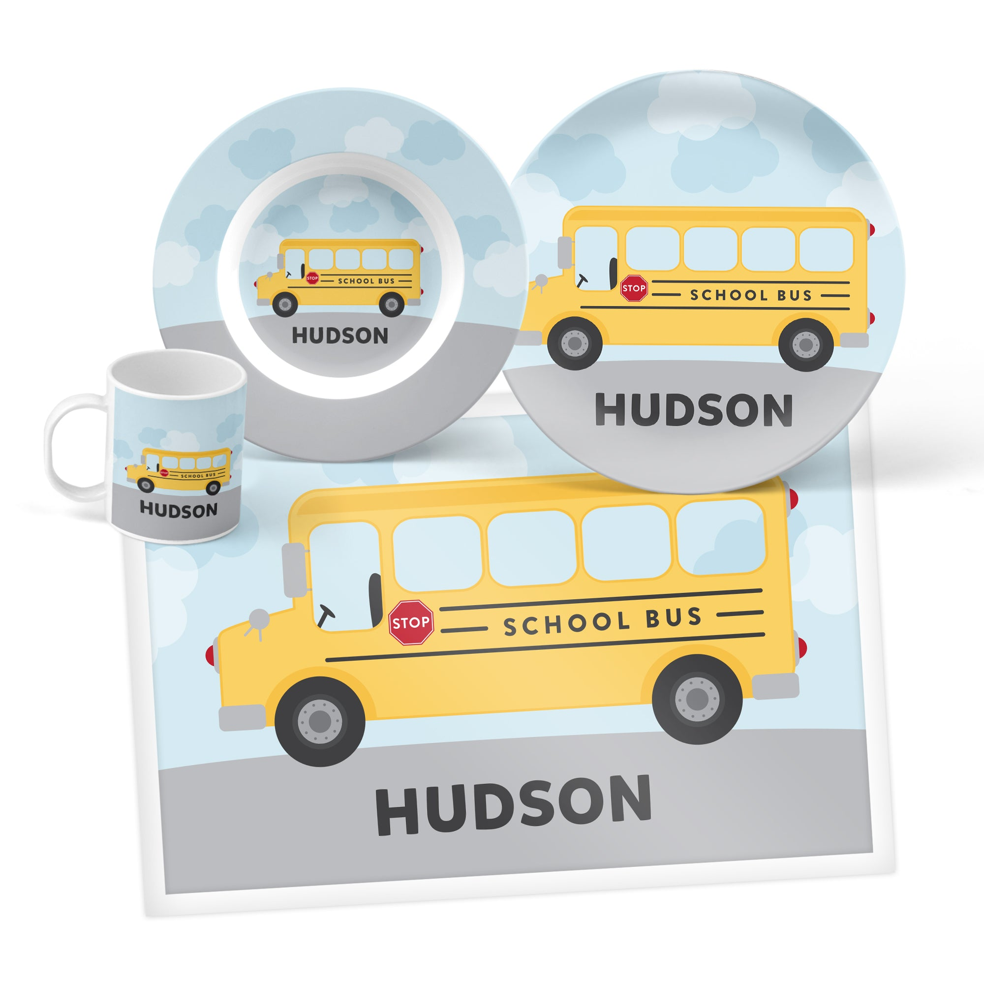 School Bus Personalized Mealtime Set