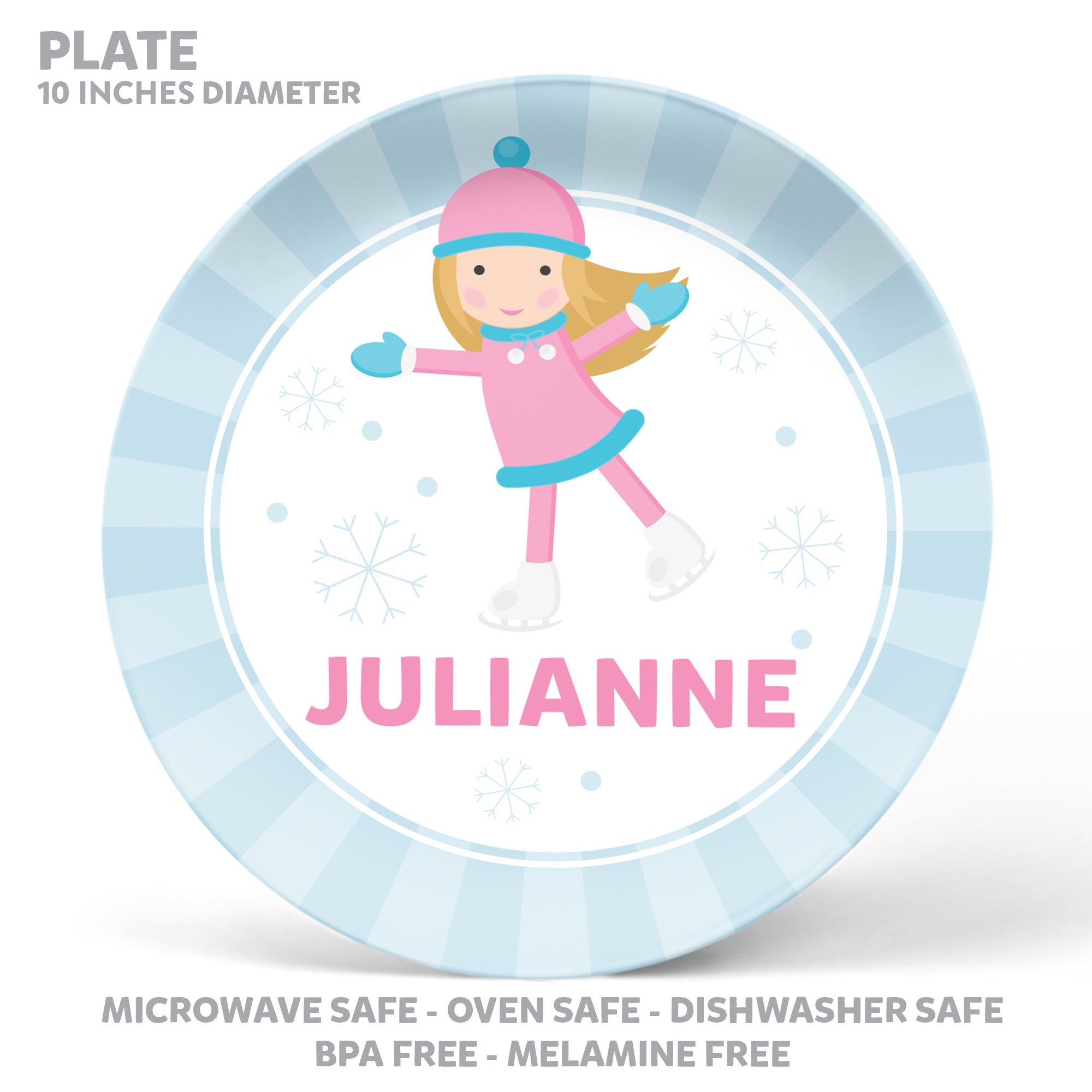 Ice Skating Girl Personalized Mealtime Set