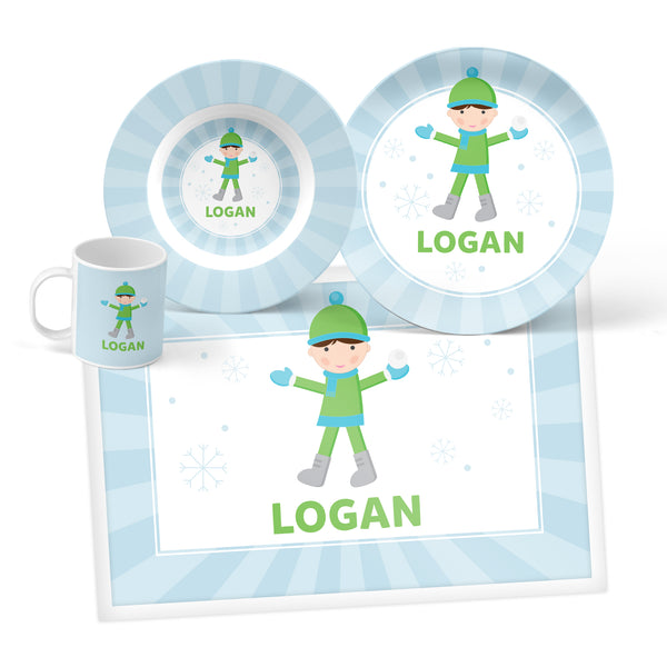 Snowball Boy Personalized Mealtime Set
