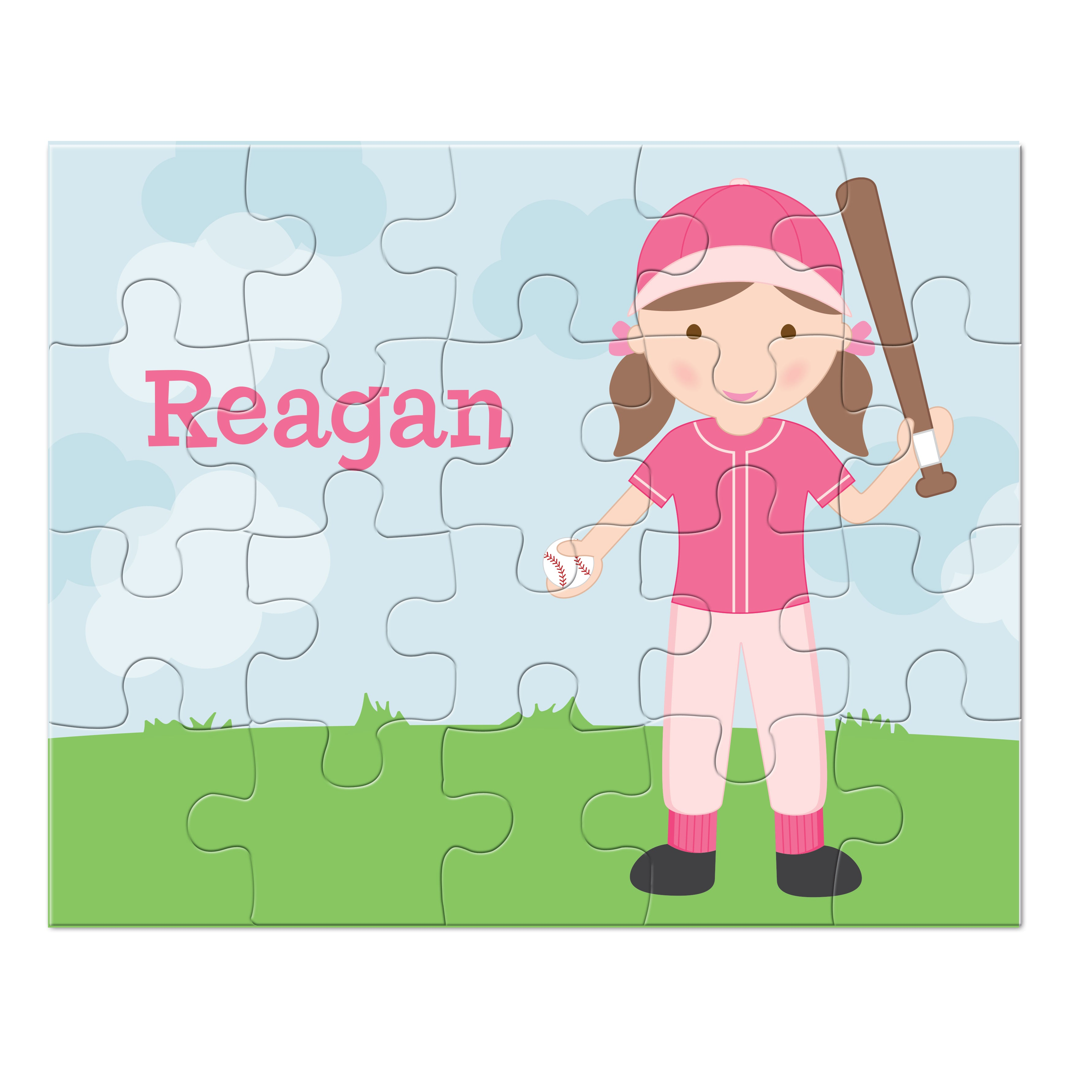 Softball Girl Personalized Puzzle