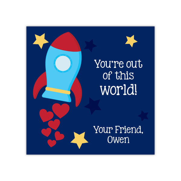 Spaceship Personalized Valentine's Day Gift Labels