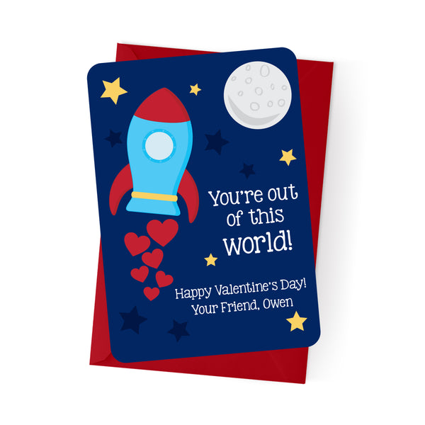 Spaceship Personalized Valentine's Day Cards
