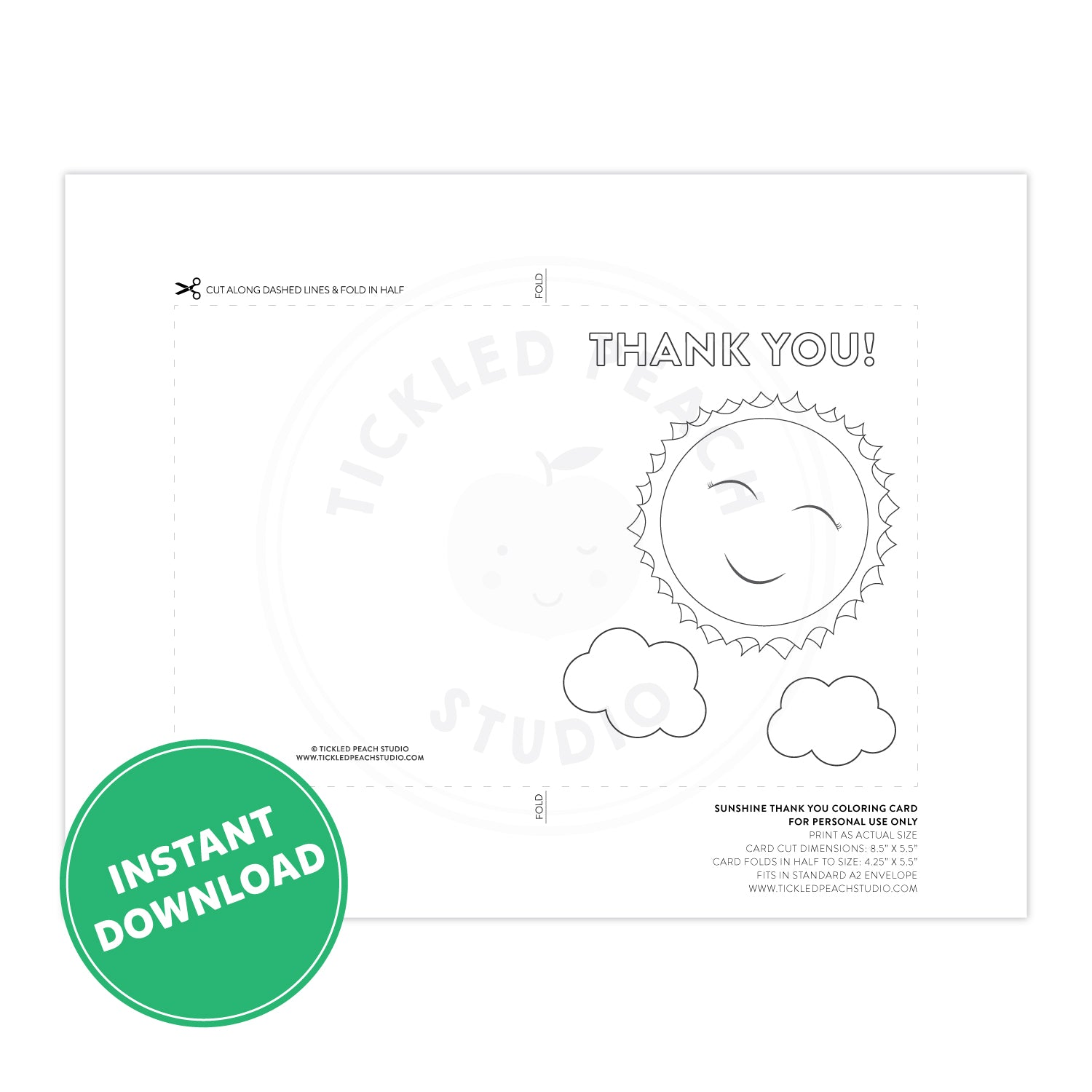 PRINTABLE Sunshine Thank You Coloring Card