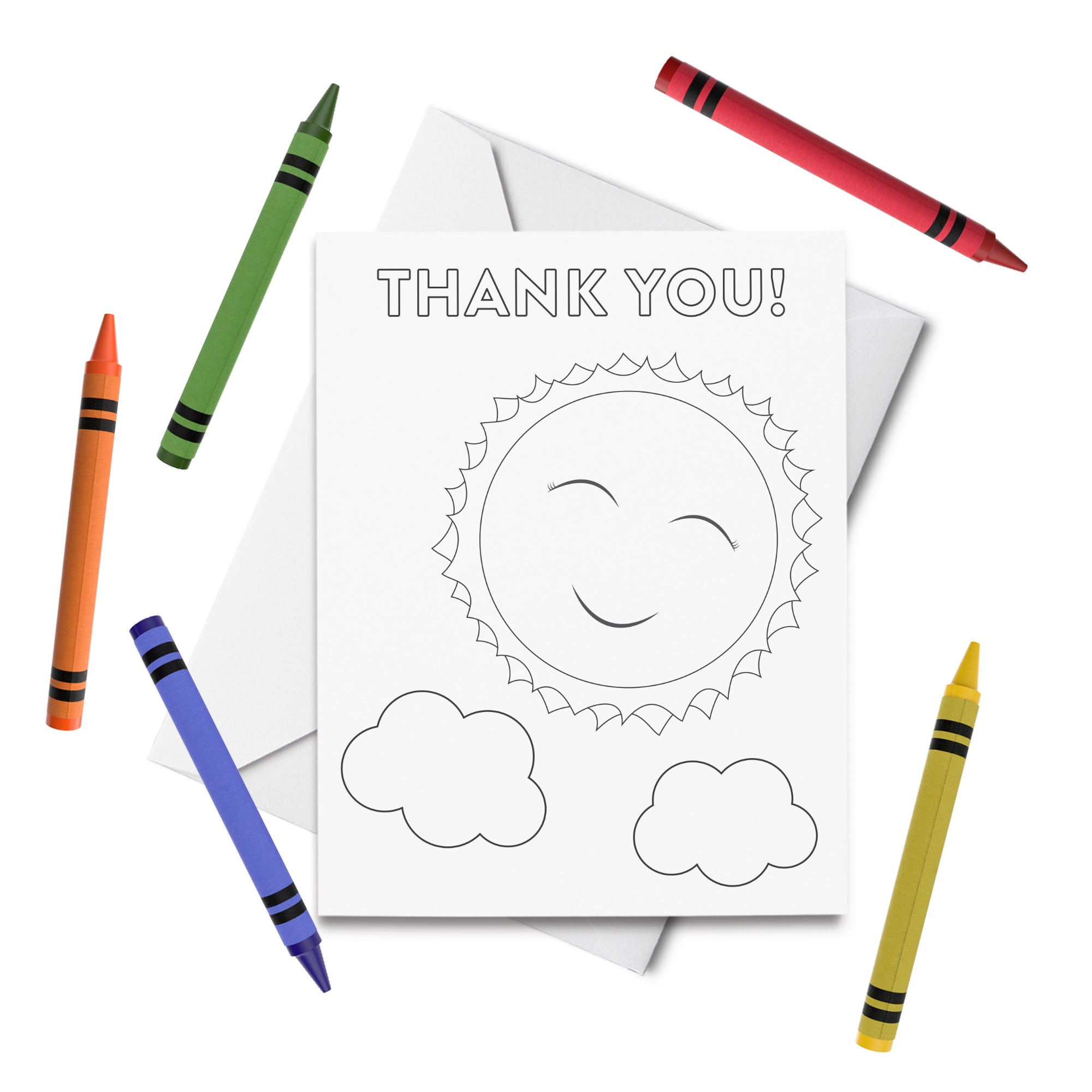 PRINTABLE Thank You Coloring Card Set