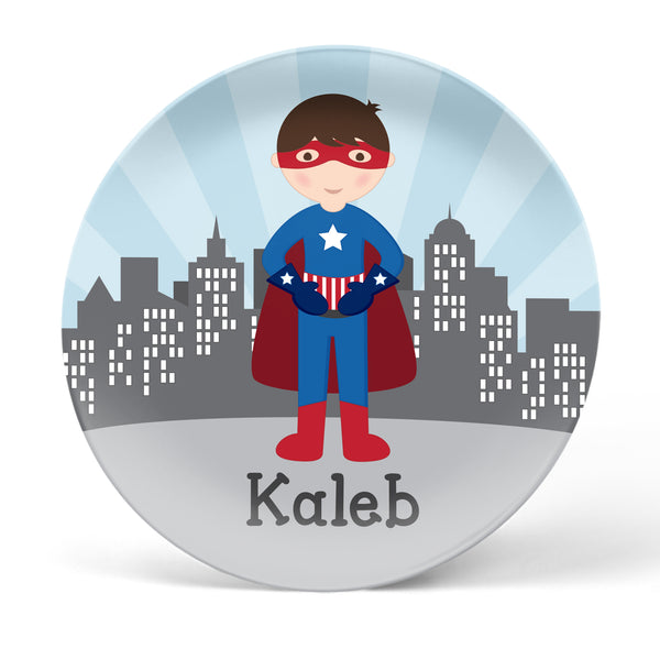 Superhero Boy Personalized Plate