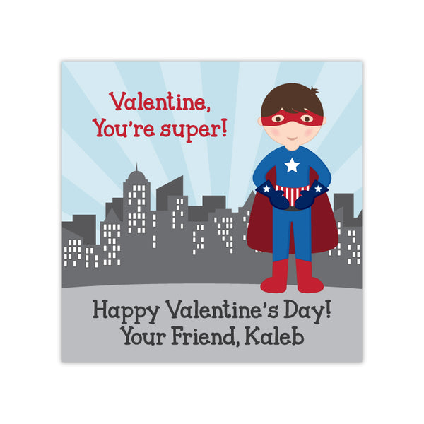 Superhero Boy Personalized Valentine's Day Gift Labels