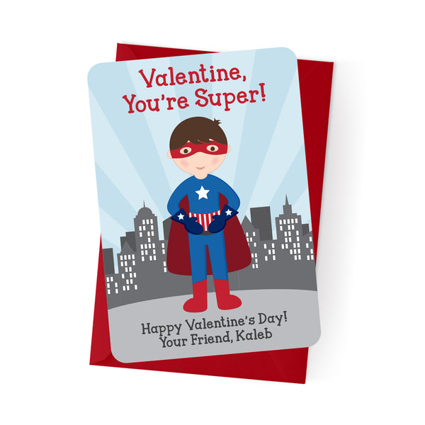 Superhero Boy Personalized Valentine's Day Cards