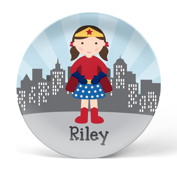 Superhero Girl Personalized Plate