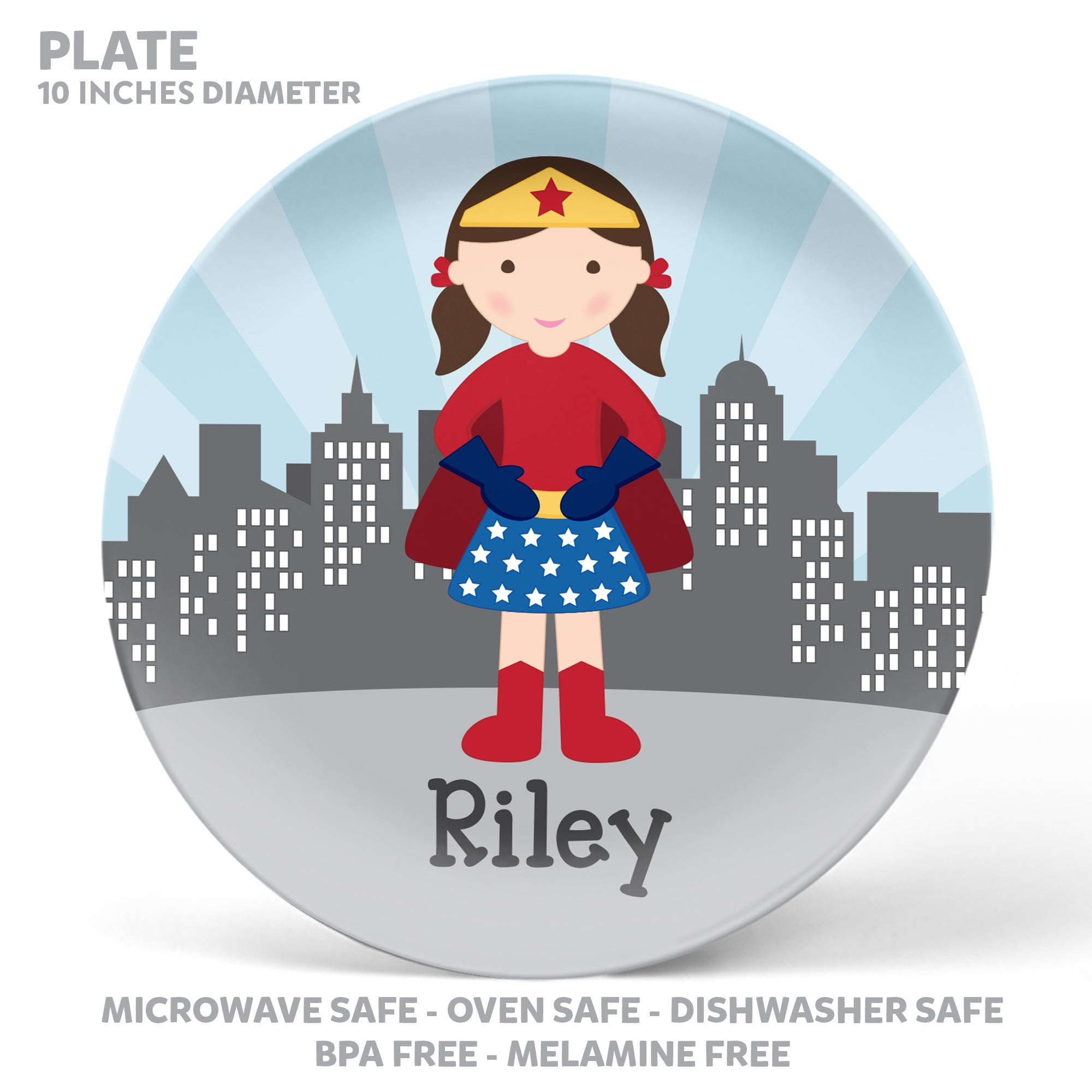 Superhero Girl Personalized Mealtime Set