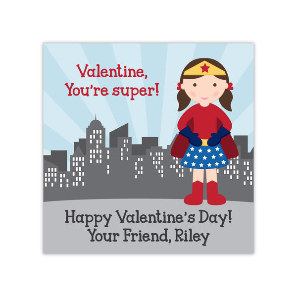 Superhero Girl Personalized Valentine's Day Gift Labels