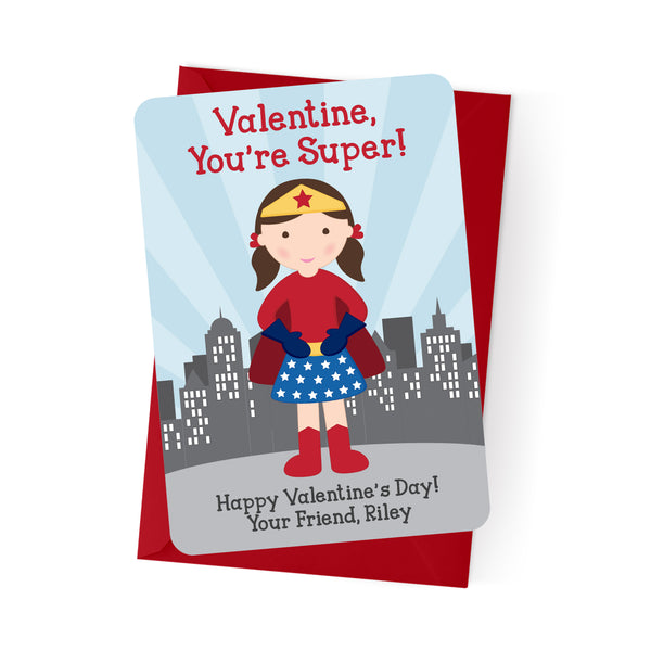 Superhero Girl Personalized Valentine's Day Cards