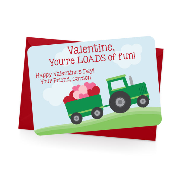 Tractor Personalized Valentine's Day Cards
