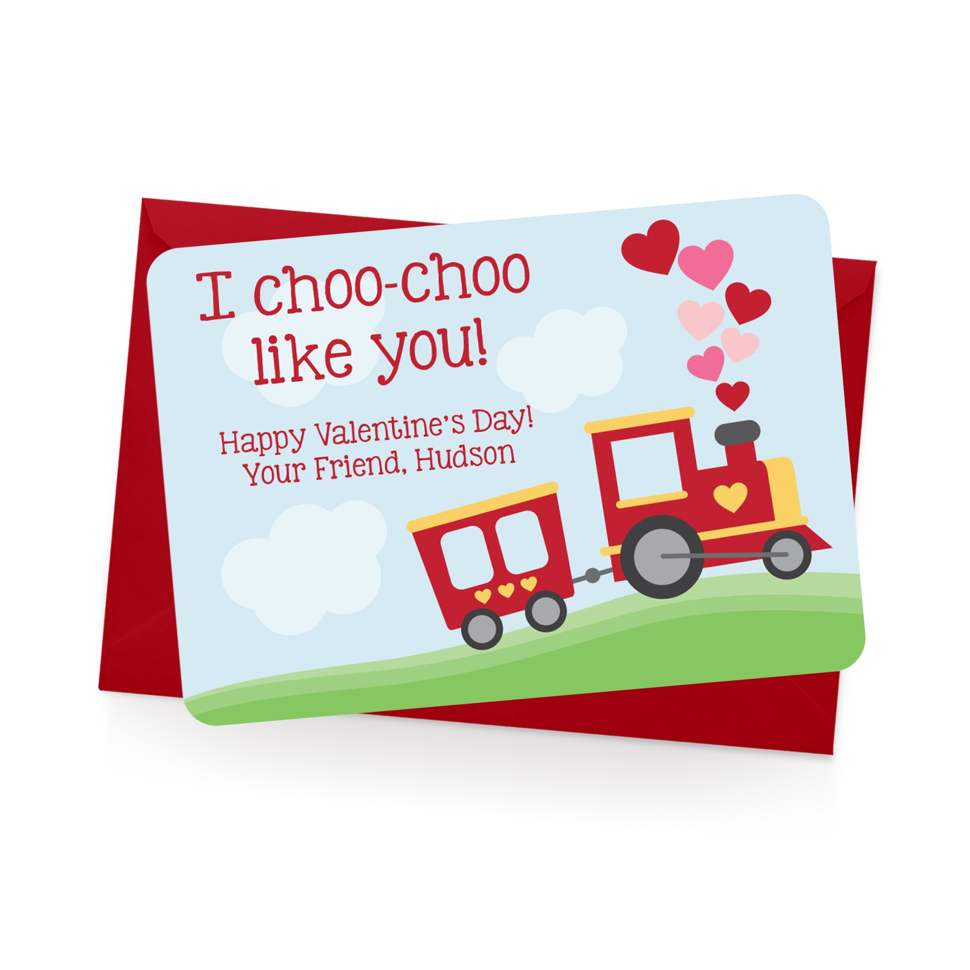 Train Personalized Valentine's Day Cards