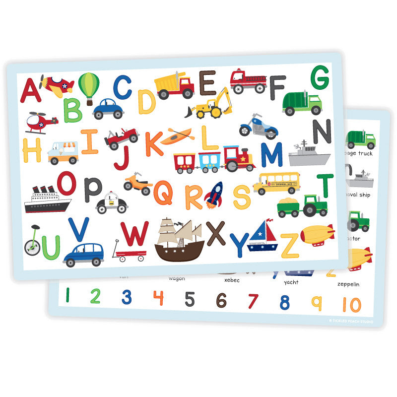 Transportation Alphabet Placemat