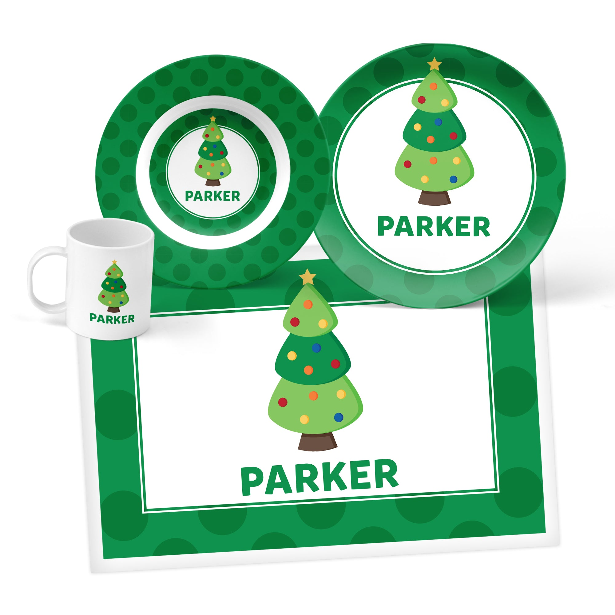 Christmas Tree Personalized Mealtime Set