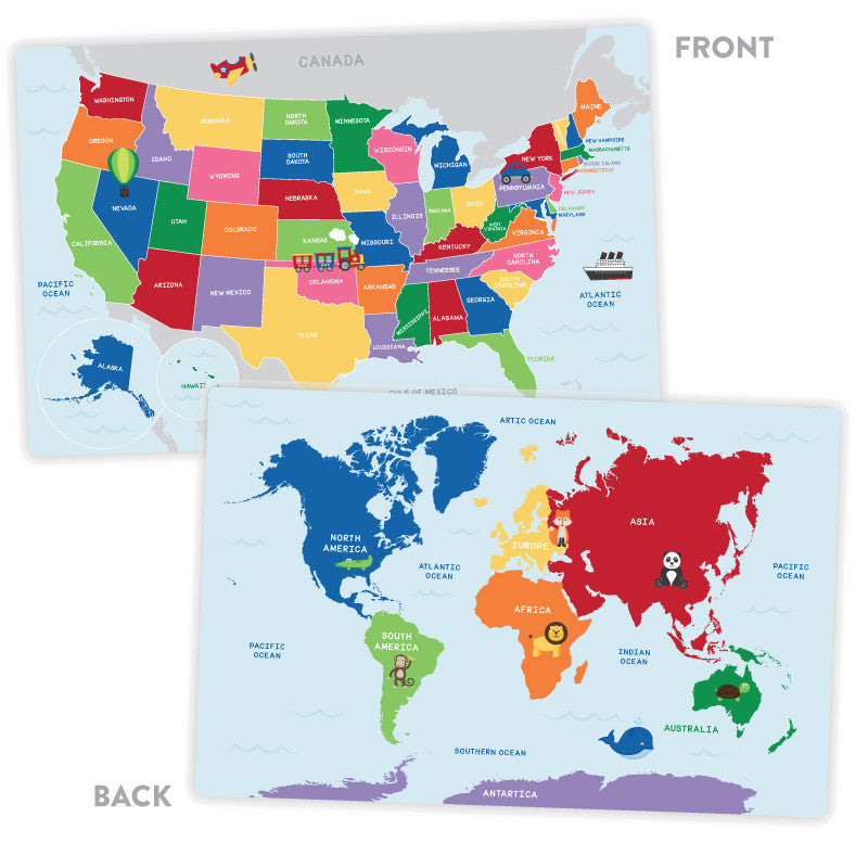 Activity Placemat United States And World Map Tickled Peach Studio - World map of the united states