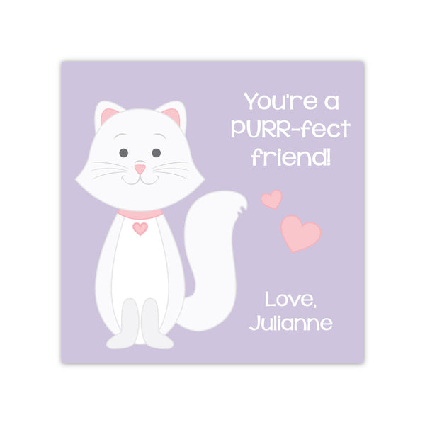 Cat Personalized Valentine's Day Gift Labels