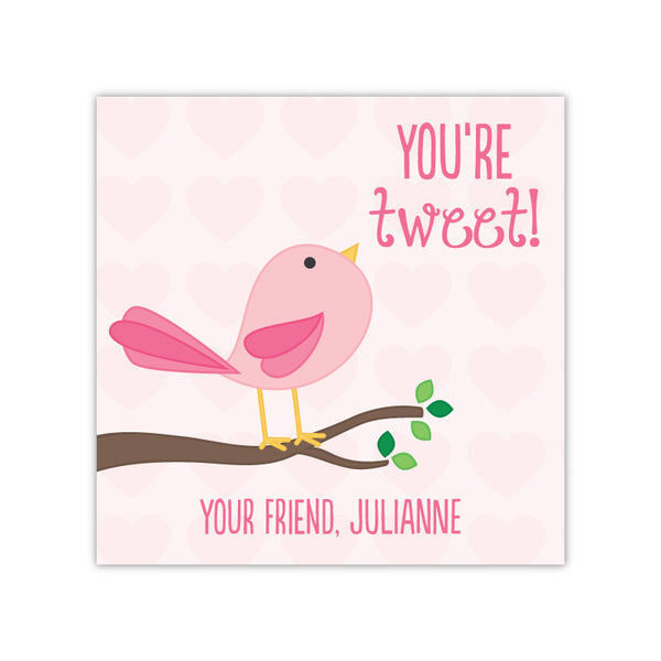 Cute Bird Personalized Valentine's Day Gift Labels