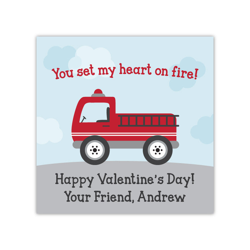 Firetruck Personalized Valentine's Day Gift Labels