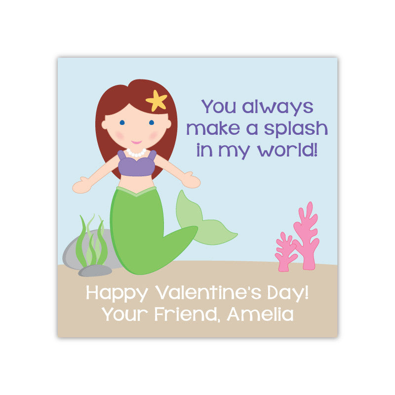 Mermaid Personalized Valentine's Day Gift Labels