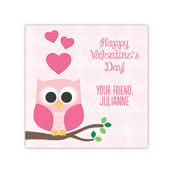 Owl Personalized Valentine's Day Gift Labels