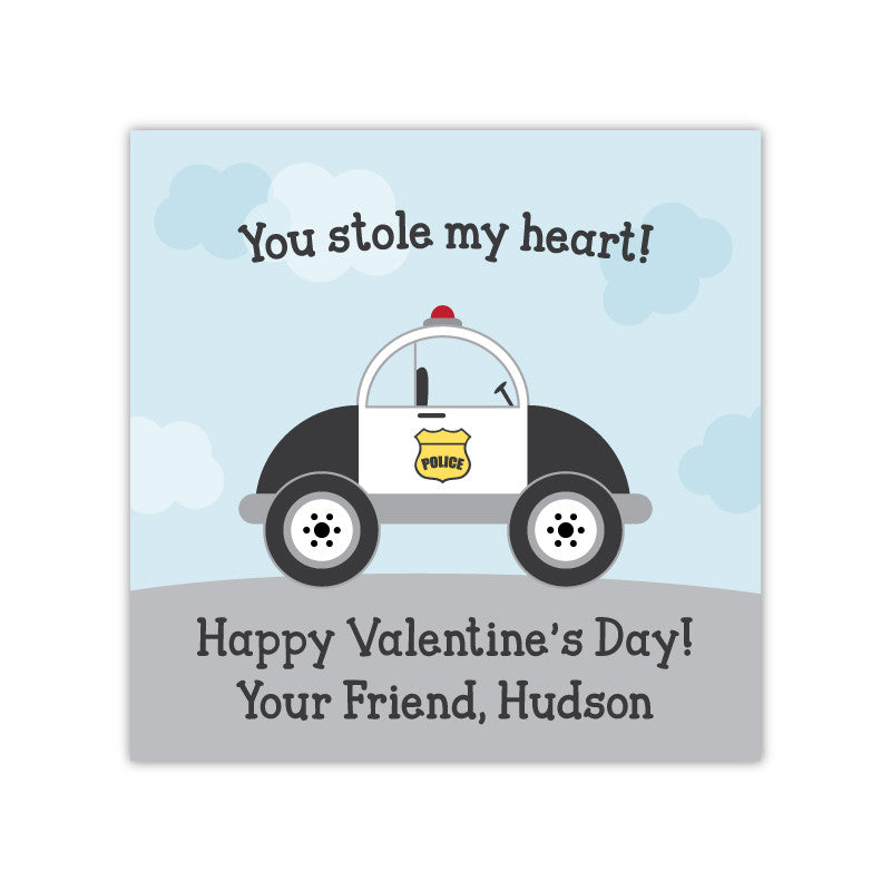 Police Car Personalized Valentine's Day Gift Labels